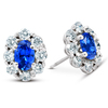 3 Ct Blue Sapphire & Diamond Halo Studs 14k White Gold (H/I, I1)
