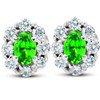 3 Ct Peridot & Diamond Halo Studs 14k White Gold (H/I, I1)