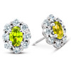 3 Ct Citrine & Diamond Halo Studs 14k White Gold (H/I, I1)