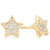 14K Yellow Gold Diamond Pave Petite Star Studs Dainty High Polished 6.5MM (I-J, I2/I3)