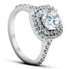 2 1/4 Ct Diamond & Moissanite Cushion Halo Engagement Ring 14k White Gold (H/I, SI2)
