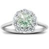 1/2 Ct TDW Halo Diamond Genuine Green Amethyst Ring 14k White Gold (H/I, SI1-SI2)