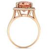 5 1/2 Ct TW Halo Diamond & Oval 10x12 Morganite Ring 14k Rose Gold (I/J, I2-I3)