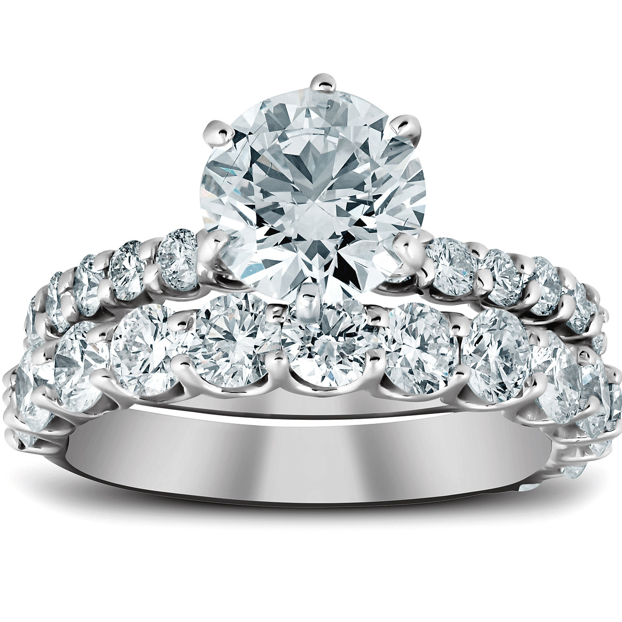 Round Cut 2.95 Carat 14KT Solid White Gold Solitaire Classy Engagement Ring
