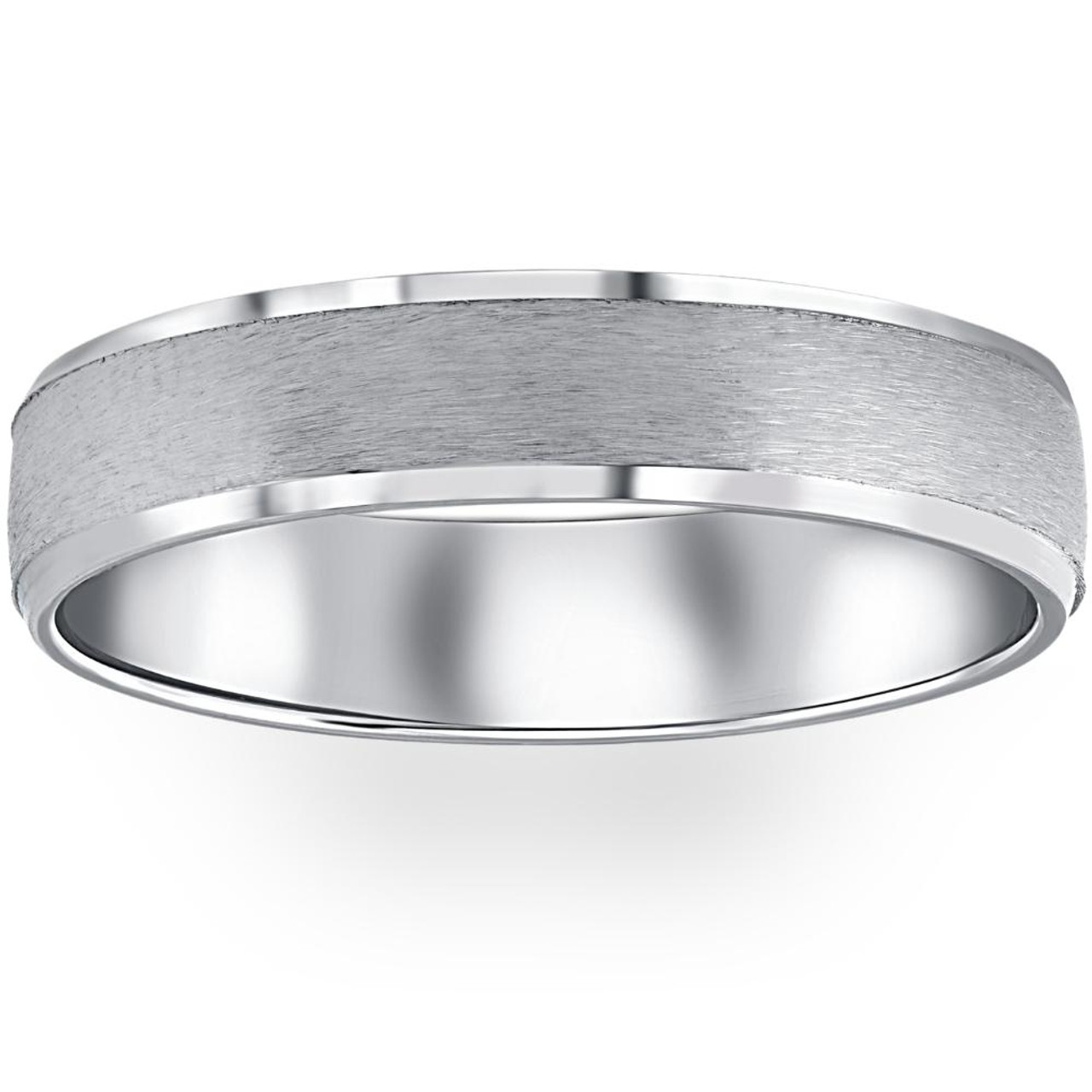 Solid 14k White Gold Wedding Band 5mm Brush Matte Comfort Fit Ring for Men