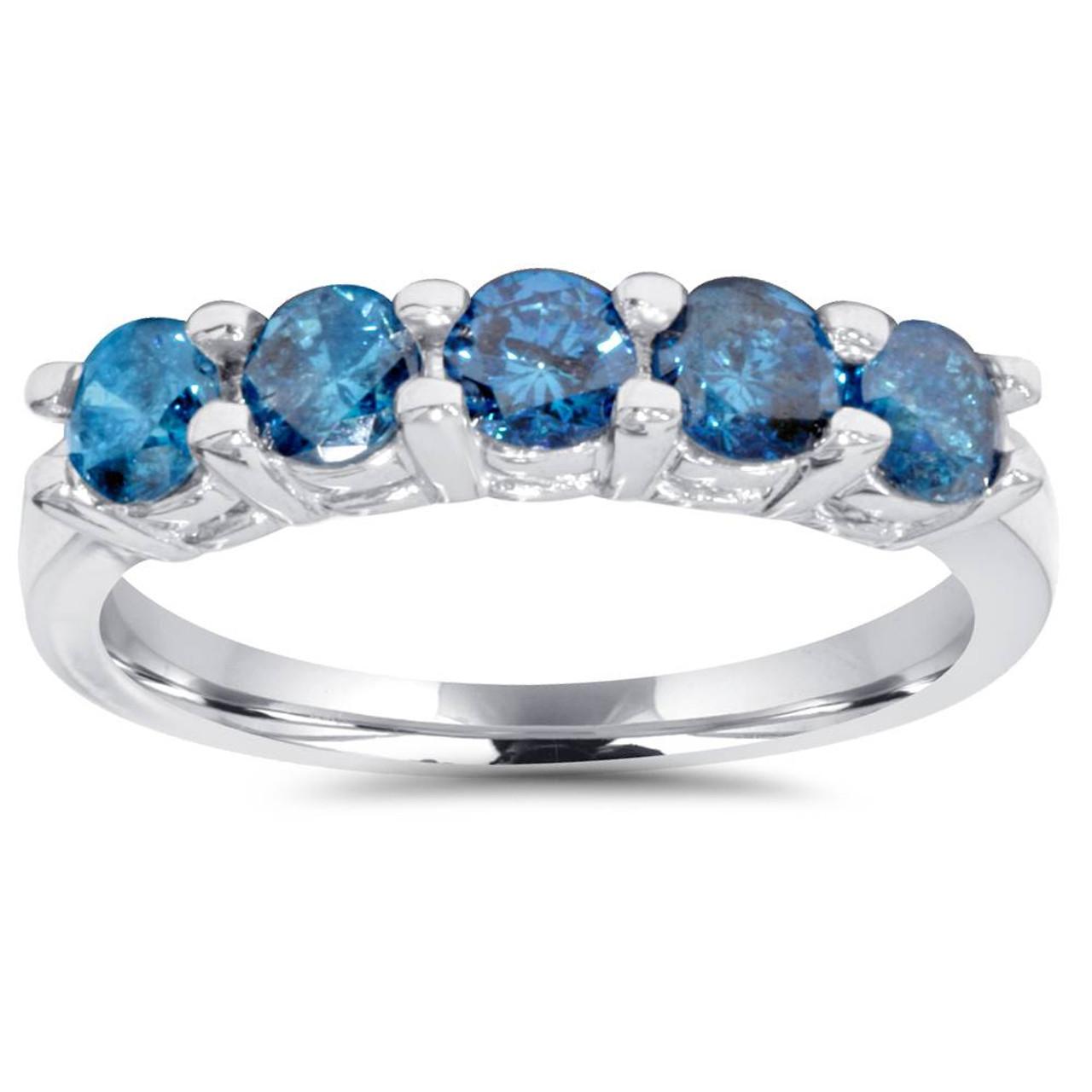 GH, I1-I2 Treated Blue /& White Diamond 5-Stone Wedding Womens Ring 10K White Gold 14ct
