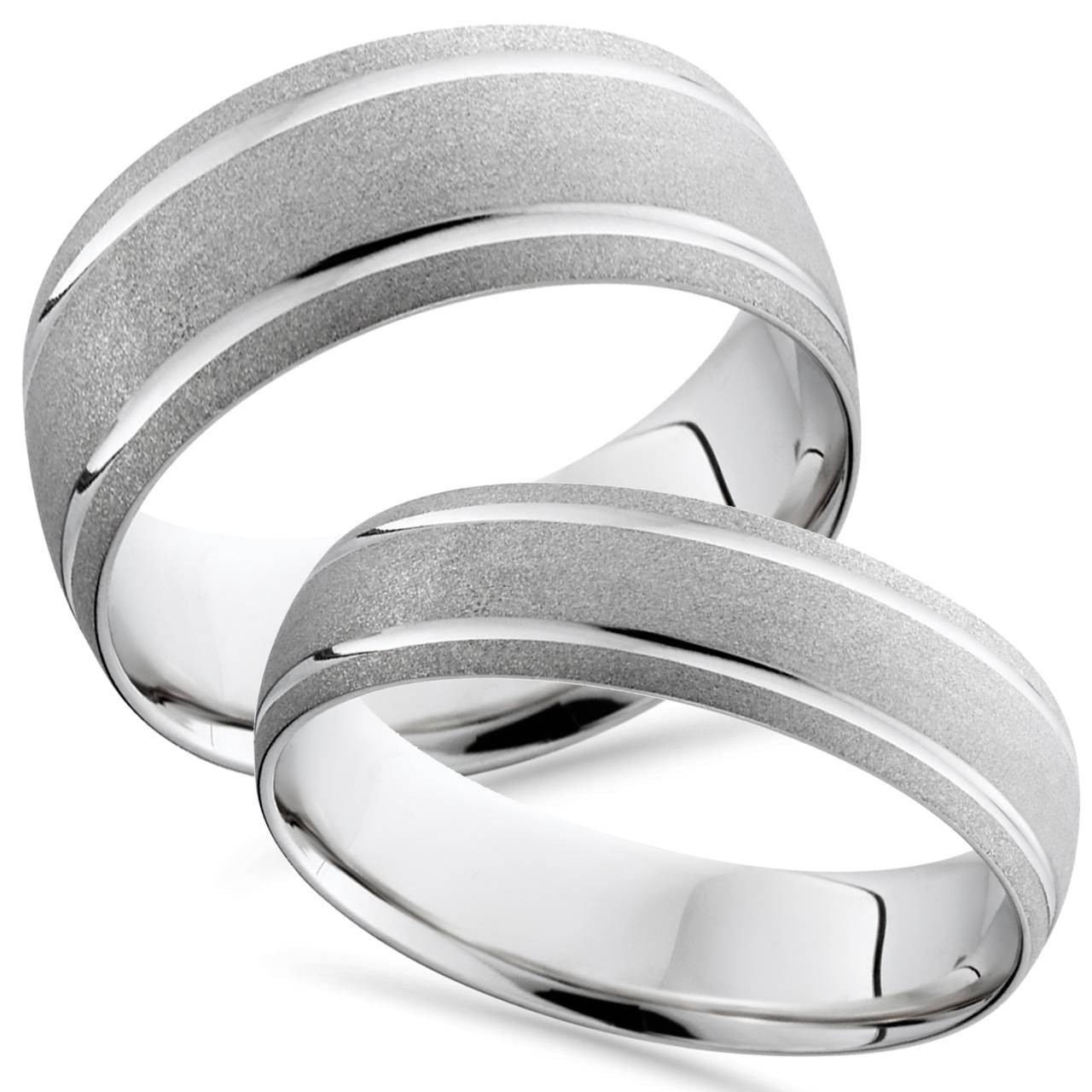 It is a graphic of 33K White Gold Matching His Hers Brushed Comfort Fit Wedding Band