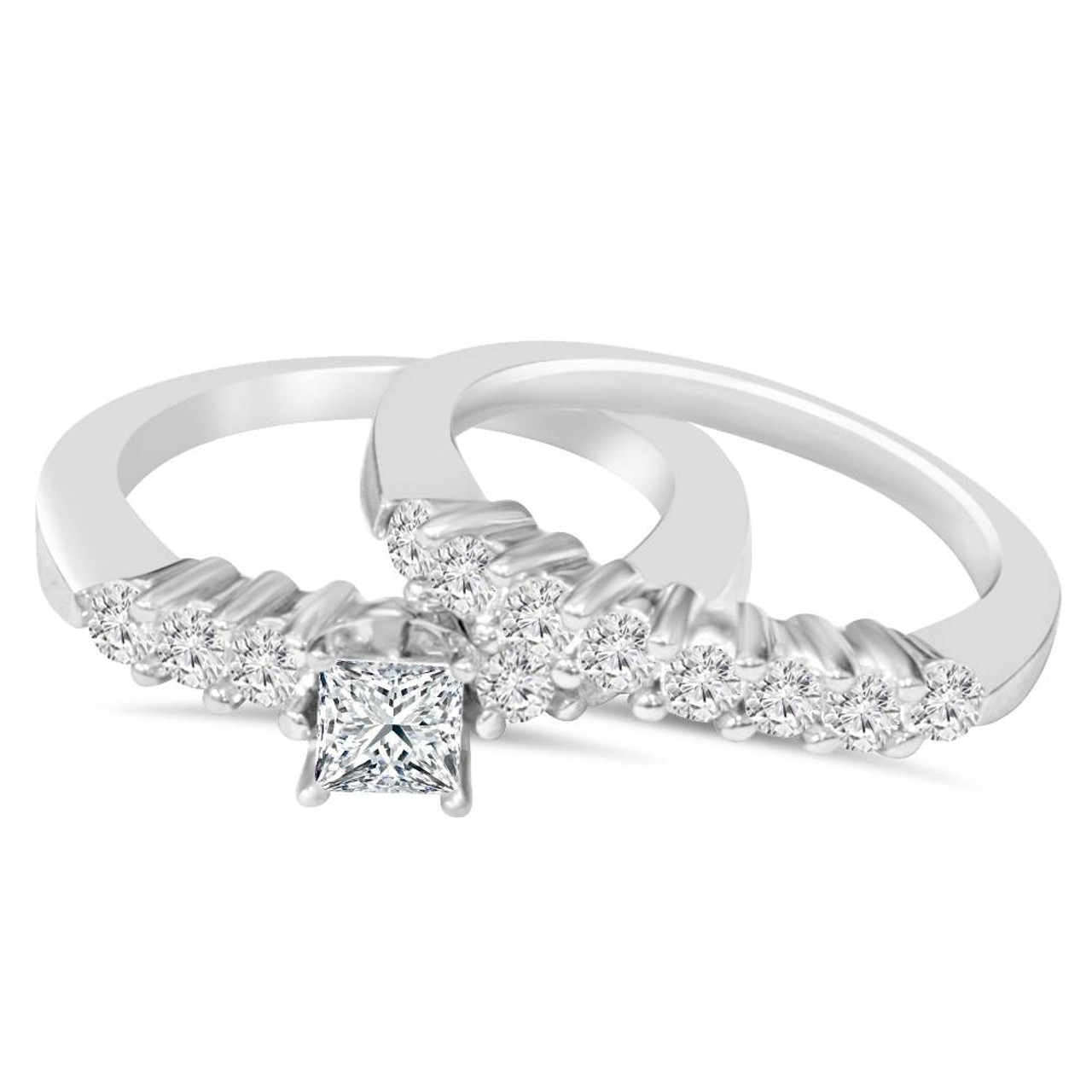 70fd94d66 Princess Cut Diamond Engagement Ring Set 1 1/4ct Matching Wedding ...