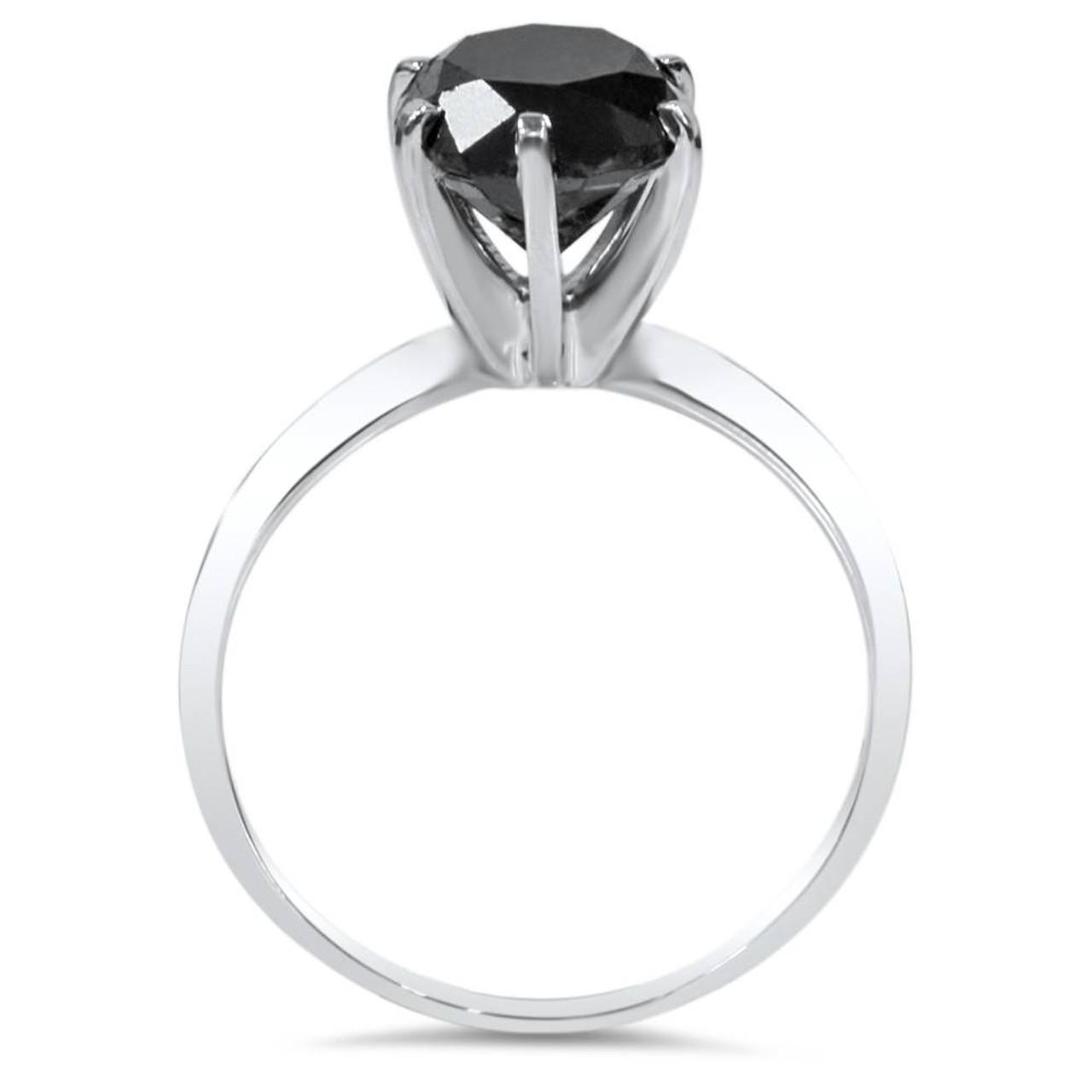 98f870c7165a1 1ct Black Diamond Solitaire Engagement Ring 14K White Gold (Black, )