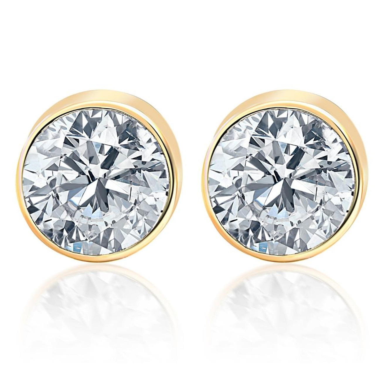 6ad1def986512 2.00Ct Round Brilliant Cut Natural Quality SI1-SI2 Diamond Stud Earrings in  14K Gold Round Bezel Setting (G/H, SI1-SI2)