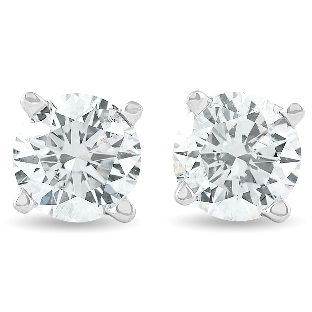1//2 Ct Round Brilliant Cut Natural Diamond Stud Earrings In 14K Gold Push Back