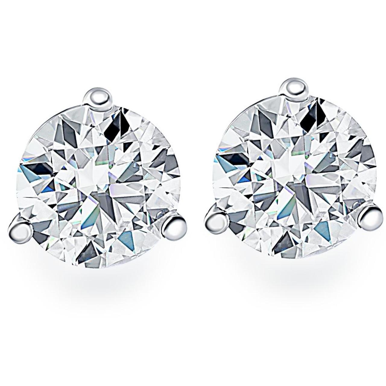 Black Diamond Studs 1.25CT Round Brilliant Cut Black Diamond Stud Earrings In 14K Gold