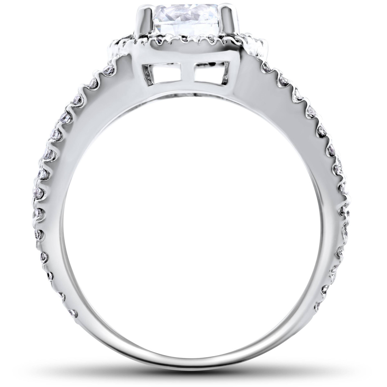 2 Carat Enhanced Diamond Halo Engagement Ring Split Shank 14K White Gold 25eb852132