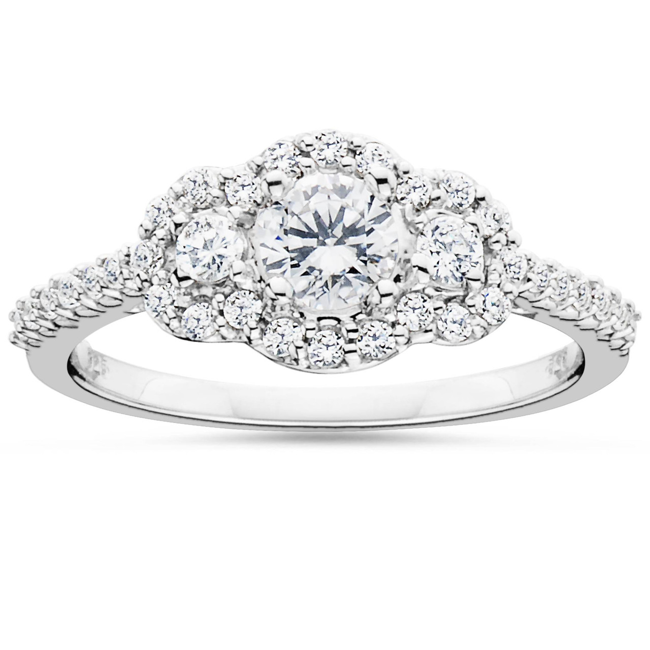 5c34a3a72bac3 7/8 Carat 3-Stone Halo Diamond Anniversary Engagement Ring Solitaire ...