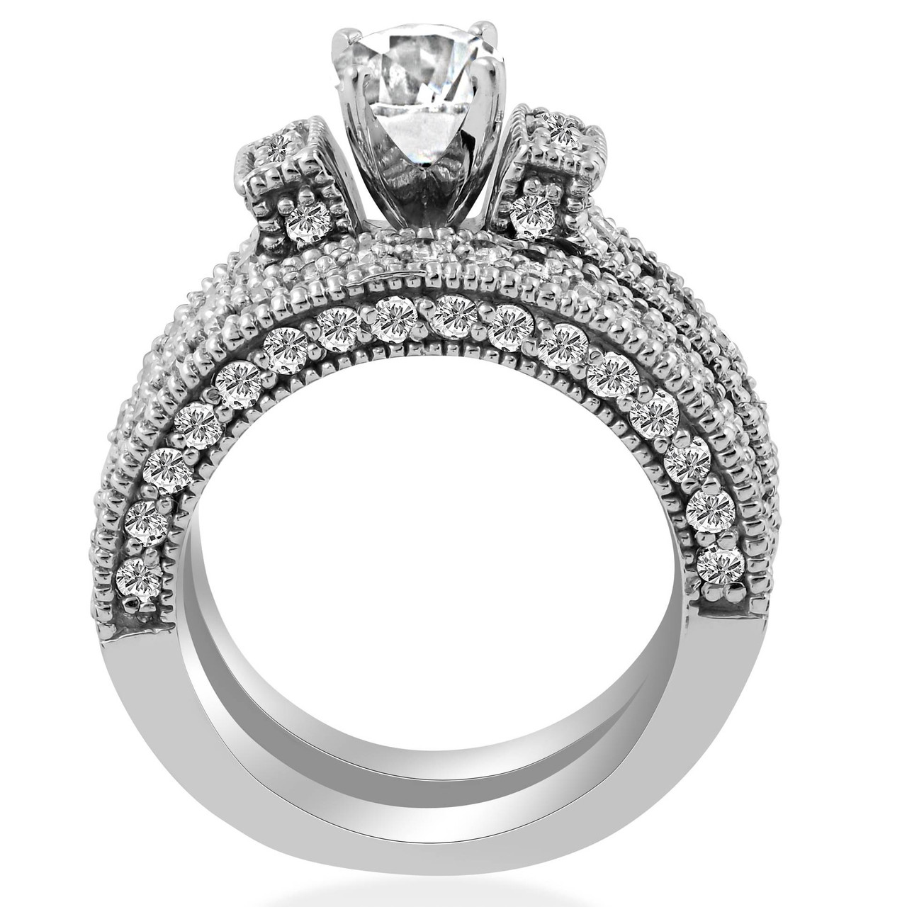 bbed1f0333b7b4 ... Pave Diamond Engagemnt Wedding Ring Set 14K White Gold (G/H, I1-I2).  ENGS1048.  https://d3d71ba2asa5oz.cloudfront.net/53000589/images/engs1048large12345.