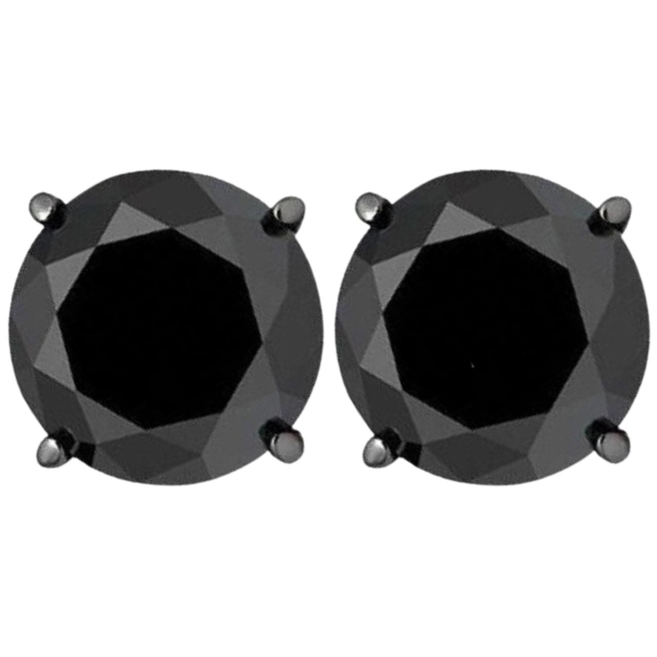 3ct 14k Black Gold Round Black Diamond Screw Back Studs Earrings 15ea6d81862b