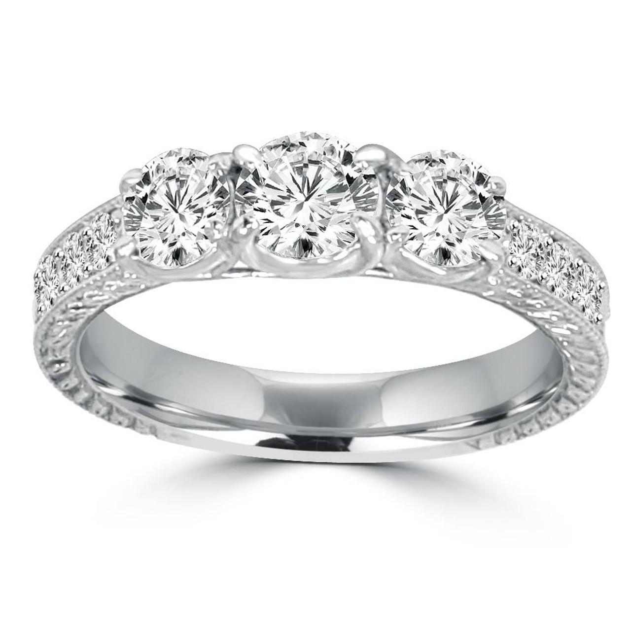 15518f3f4607d 1 1/2ct Vintage Three Stone Round Diamond Engagement Ring 14K White Gold  (H/SI2) (H, SI2)