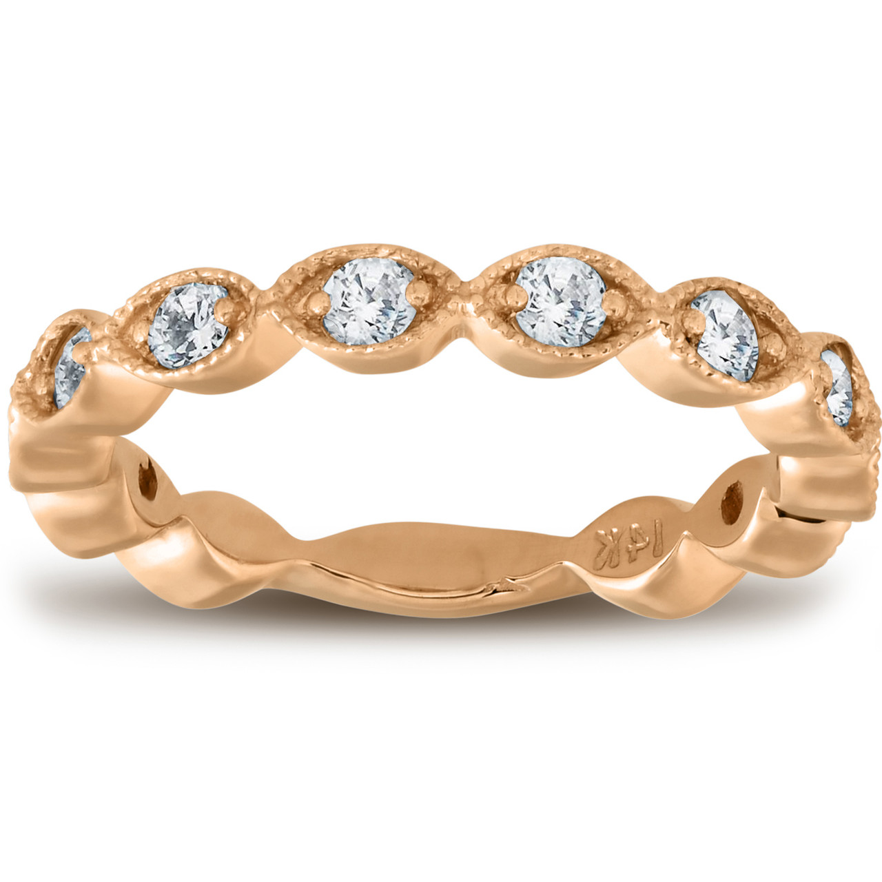 3//8ct Diamond Eternity Ring 14k Yellow Gold Womens Stackable Wedding Band
