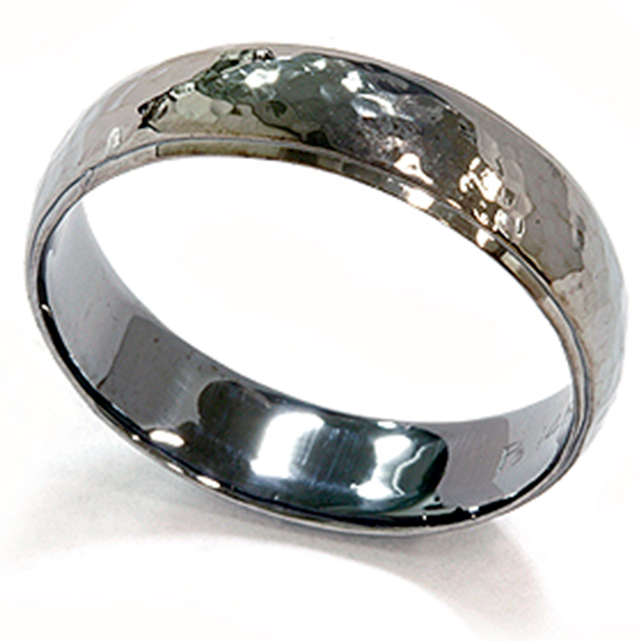 Men S Wedding Ring.Mens 14k Black Gold Hammered Wedding Ring 6mm New Band
