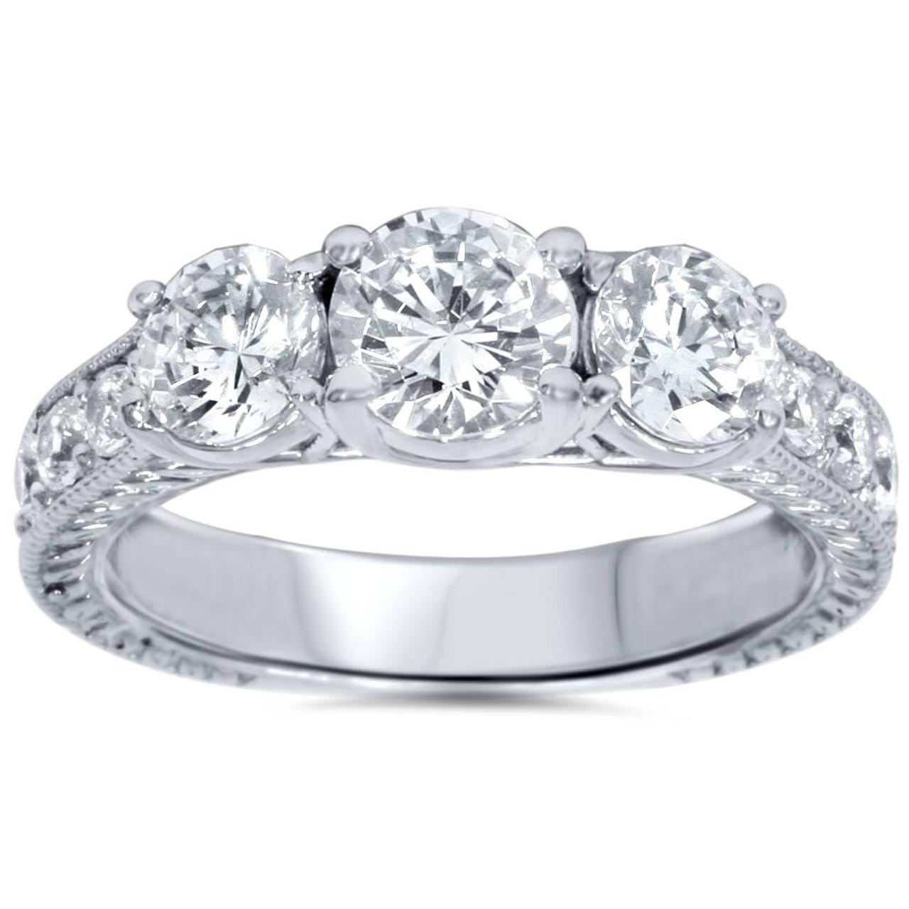 19260f5bce63e 2ct Vintage Three Stone Round Diamond Engagement Ring 14K White Gold (H, I3)