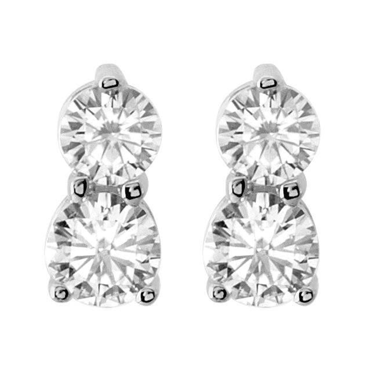 fa357ef8e9b1c 1/2CT Forever Us Two Stone Diamond Studs Womens Earrings 14K White Gold  (G/H, I1)