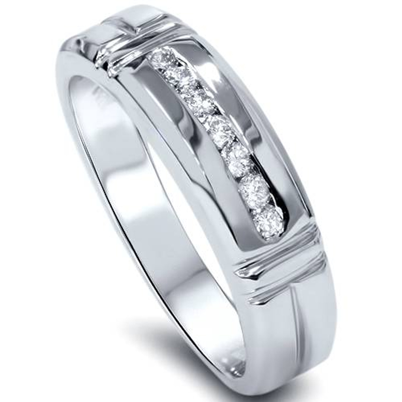 ec80563b3e2 1 4ct Channel Set Diamond Ring 14K White Gold Mens Wedding Band