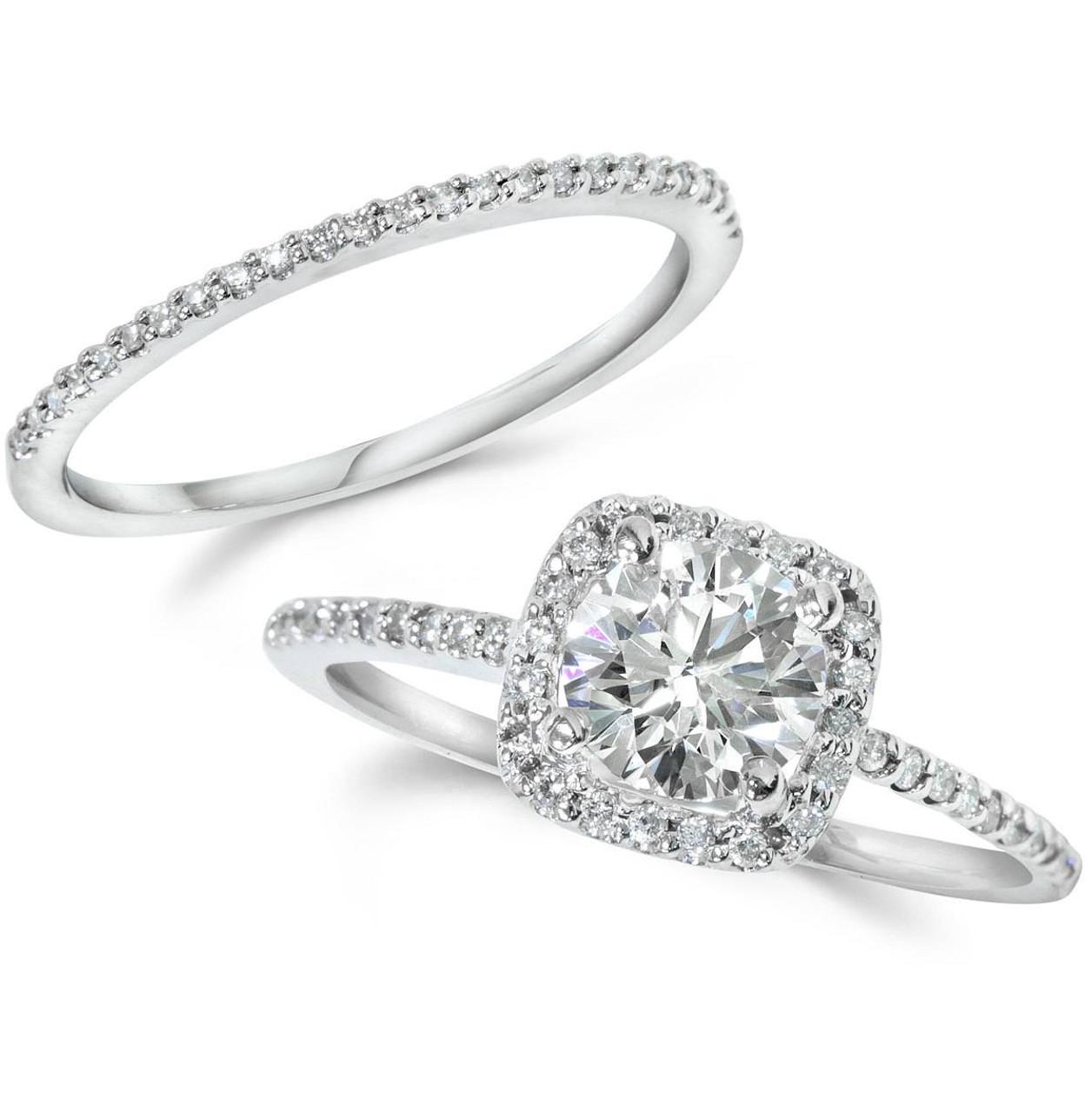 Wedding Ring Set.1ct Diamond Engagement Ring Cushion Halo Wedding Ring Set 14k White Gold H I I1