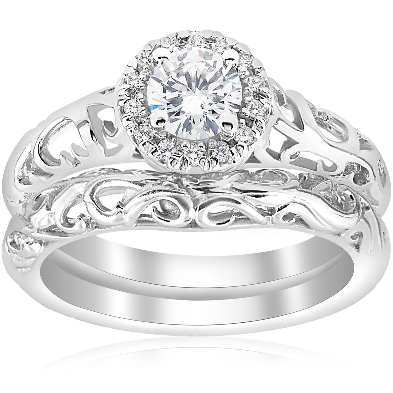 It is a photo of 338/38ct Round Diamond Vintage Engagement Wedding Ring Set 38K White Gold (G/H, I38)