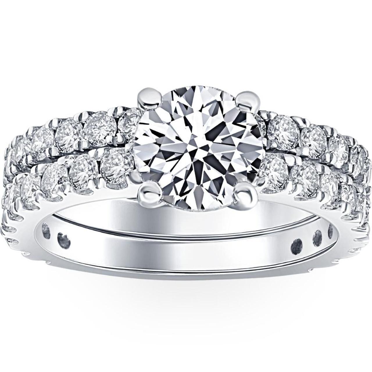 3 1 2 Ct Diamond Engagement Wedding Ring Set 14k White Gold Clarity Enhanced