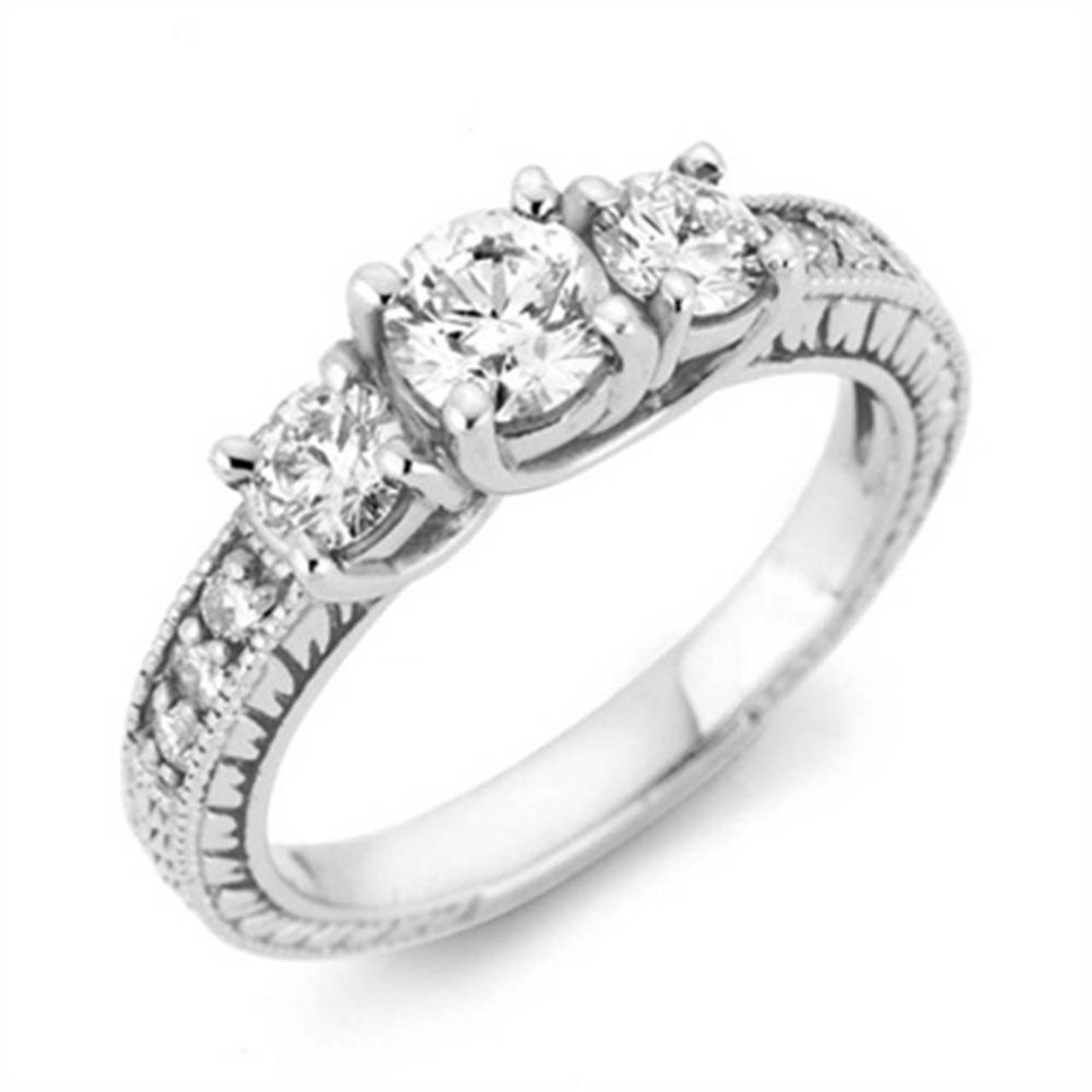 7110fe8a5ef6c 1 Carat Vintage 3-Stone Diamond Engagement Anniversary Ring 10k ...