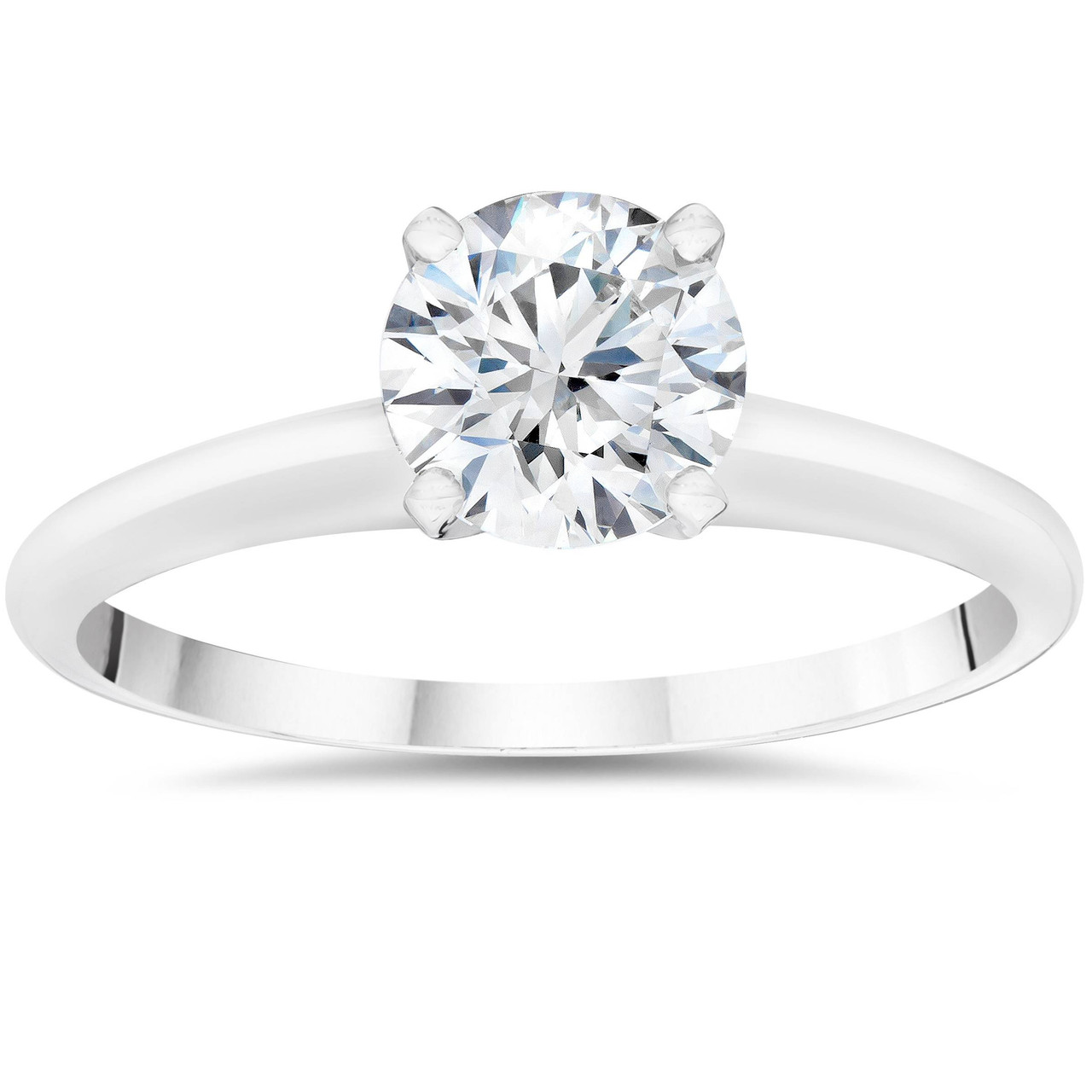 Solitaire Engagement Ring 1.00 Carat Solid 14k Yellow Gold Lab Created Man Made Synthetic Simulated Diamonds VVS1 D color Excellent Cut
