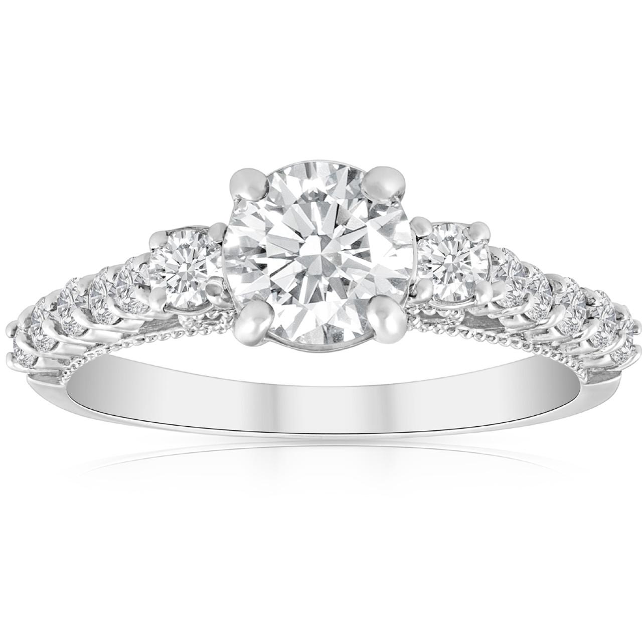 d5656cd4342dc 1 1/2ct Diamond Vintage 3 Stone Engagement Ring 14k White Gold (H/I, I1-I2)
