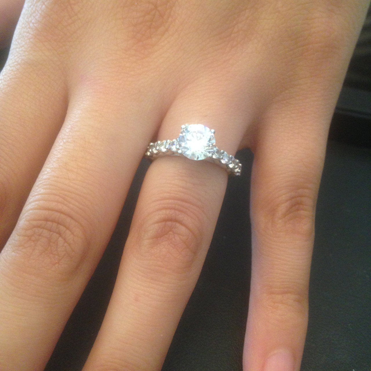Diamond Engagement Ring 2 Carat Round Cut Solitaire 14K White Gold Enhanced 3a63771bd