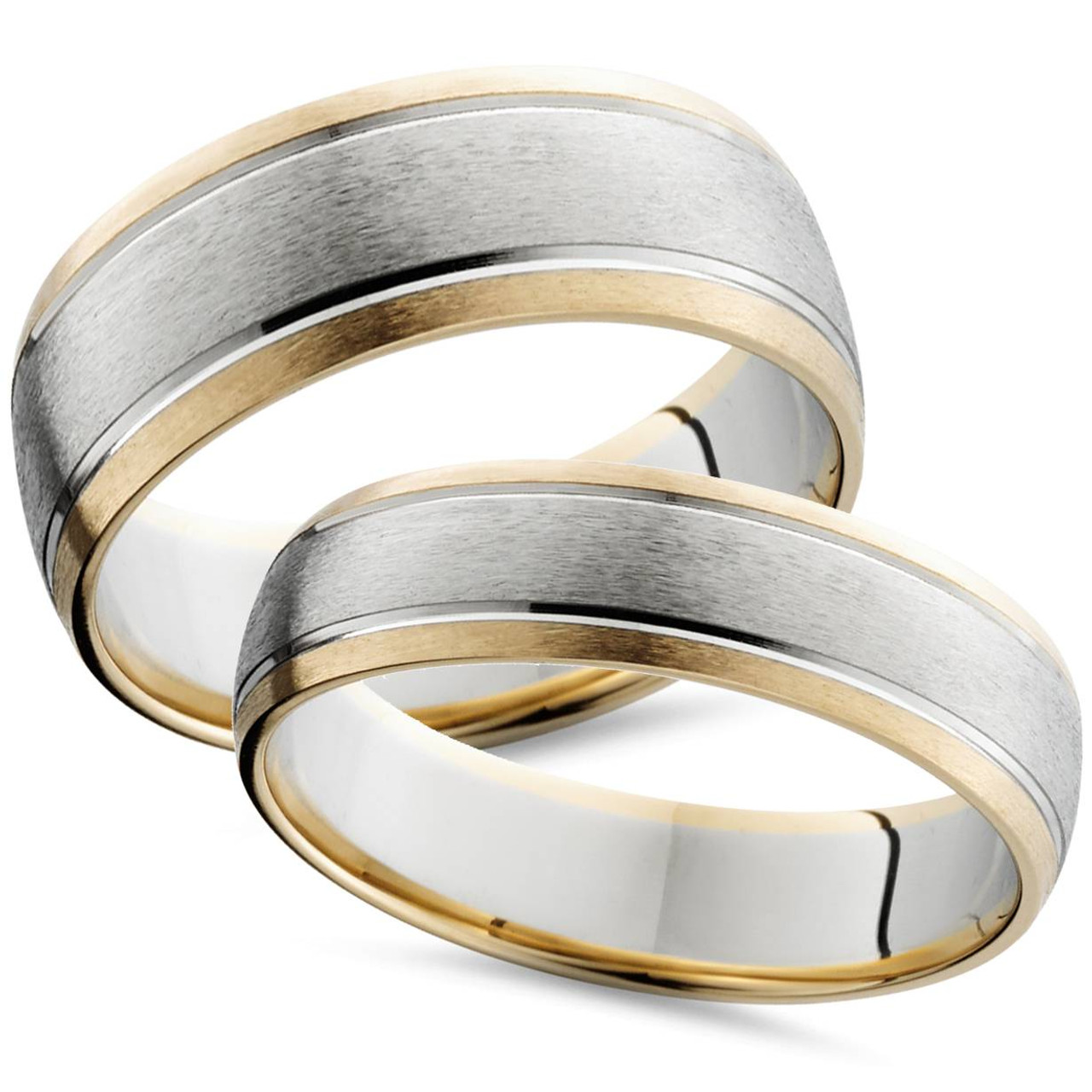 His And Hers Matching Wedding Bands Cheap.Two Tone 14k White Yellow Gold Matching Wedding Ring Set His Hers Brushed Band