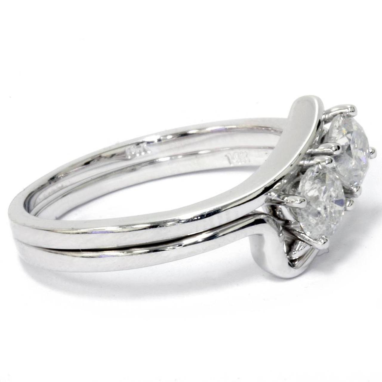 228208dfd1262 3/4CT Two Stone Diamond Forever Us Engagement Ring Set 10K White Gold (I/J,  I1-I2)