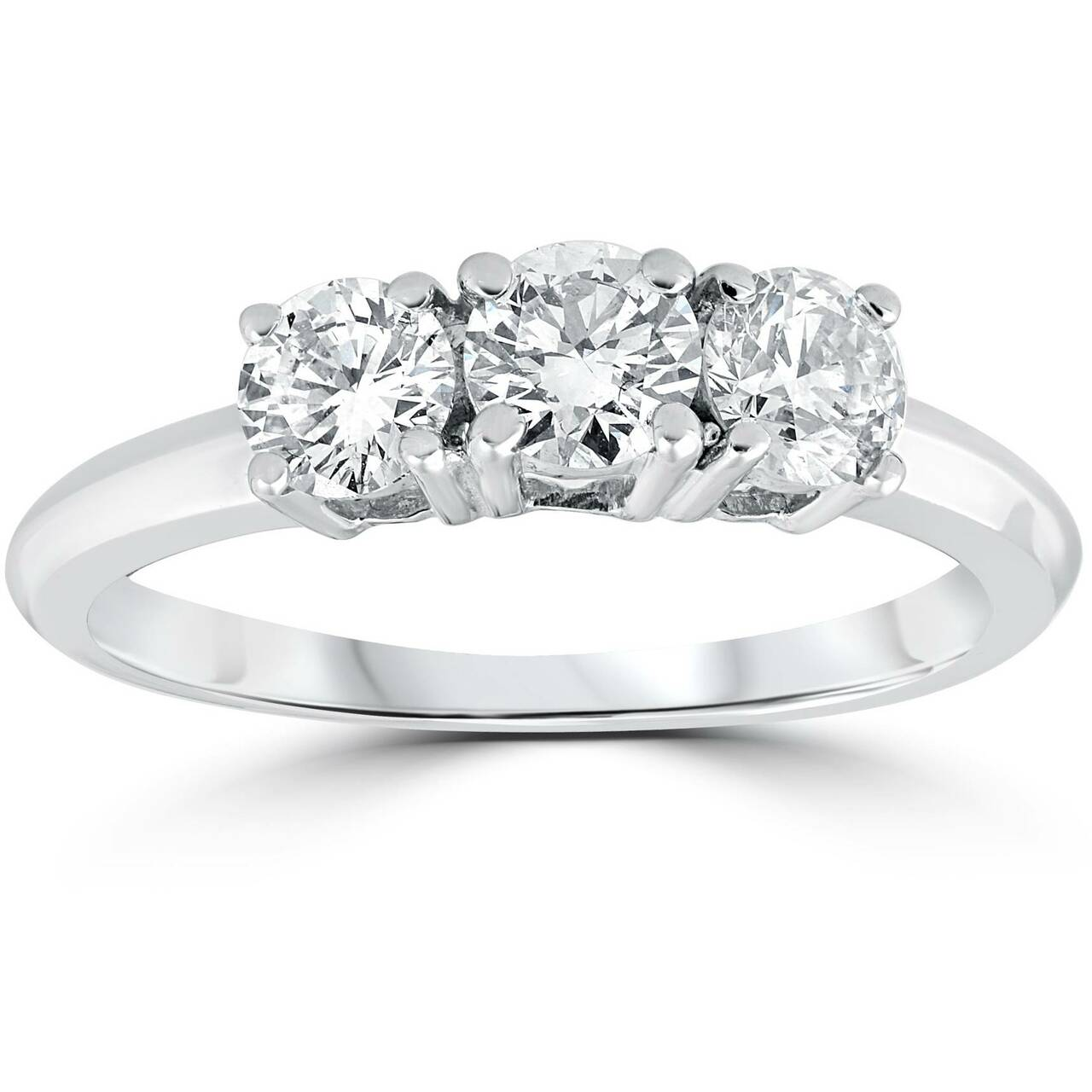 a6bb47eae 1 Carat 3-Stone Diamond Engagement Ring Solitaire Round Cut 14k White Gold
