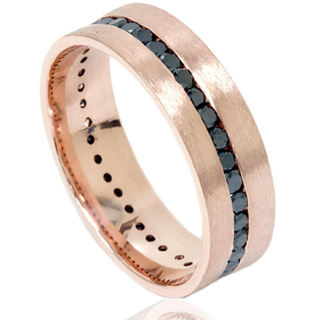 Rose Gold Mens Wedding Band.1 1 10ct Channel Set Black Diamond Brushed Ring 14k Rose Gold Mens Wedding Band Black