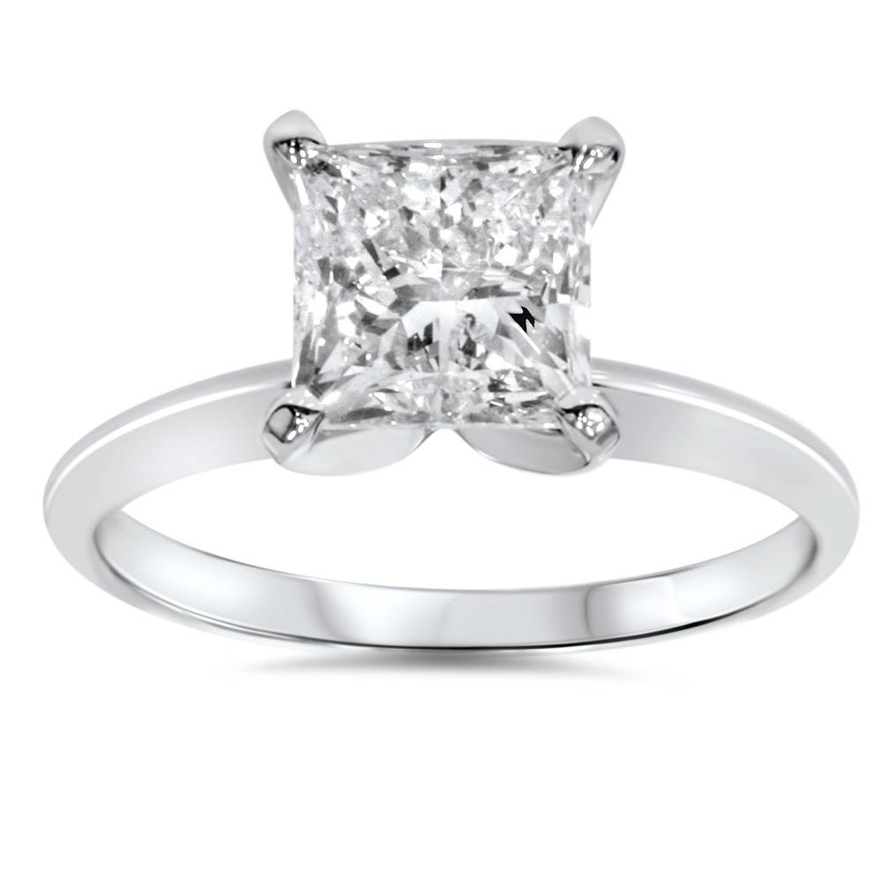 2ct Princess Cut Diamond Cluster Solitaire Engagement Ring 14ct White Gold Over