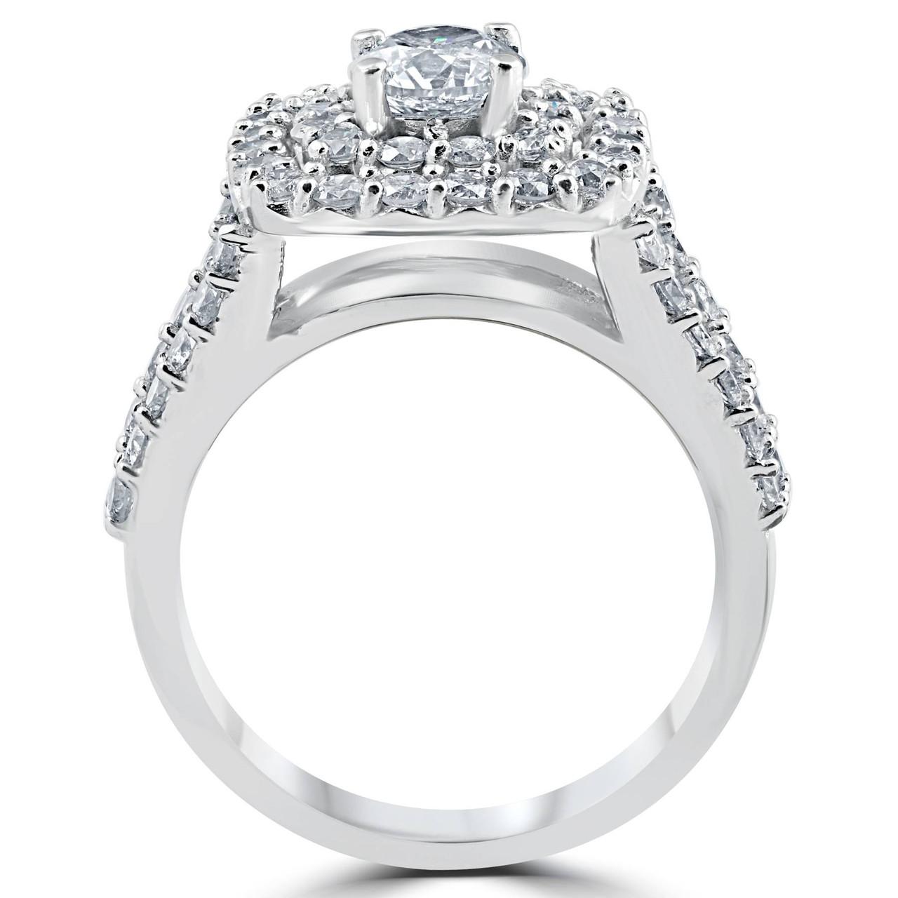 c09be6cf4ec8b4 3 ct Diamond Engagement Wedding Cushion Halo Ring Set 10k White Gold (H/I,  I1-I2)