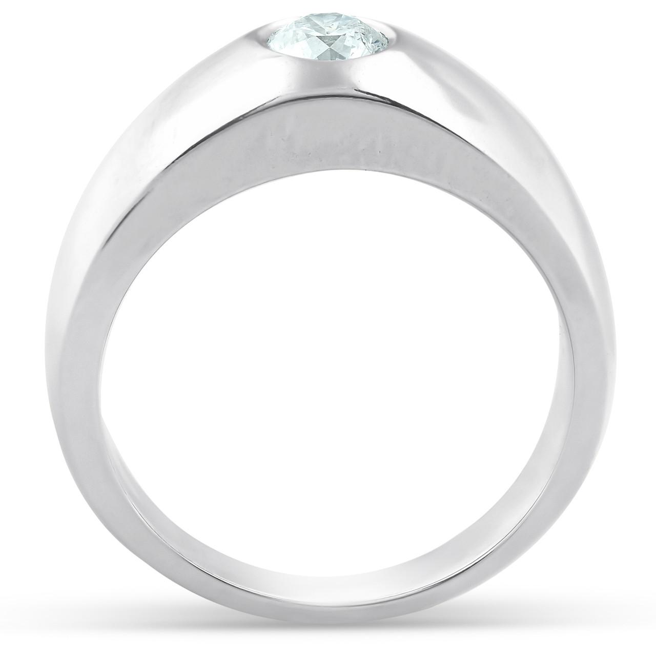 bc6fc4d90d2cf Mens 14k White Gold 1/2ct Solitaire Bezel Round Diamond Wedding Anniversary  Ring (G, SI)