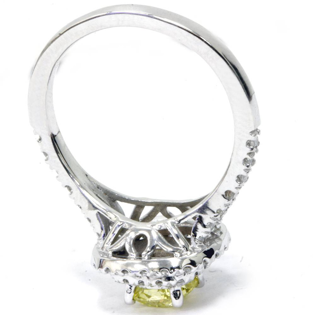 5556983041 1 1/2 Ct Canary Cushion Diamond Double Halo Engagement Ring 14K White Gold