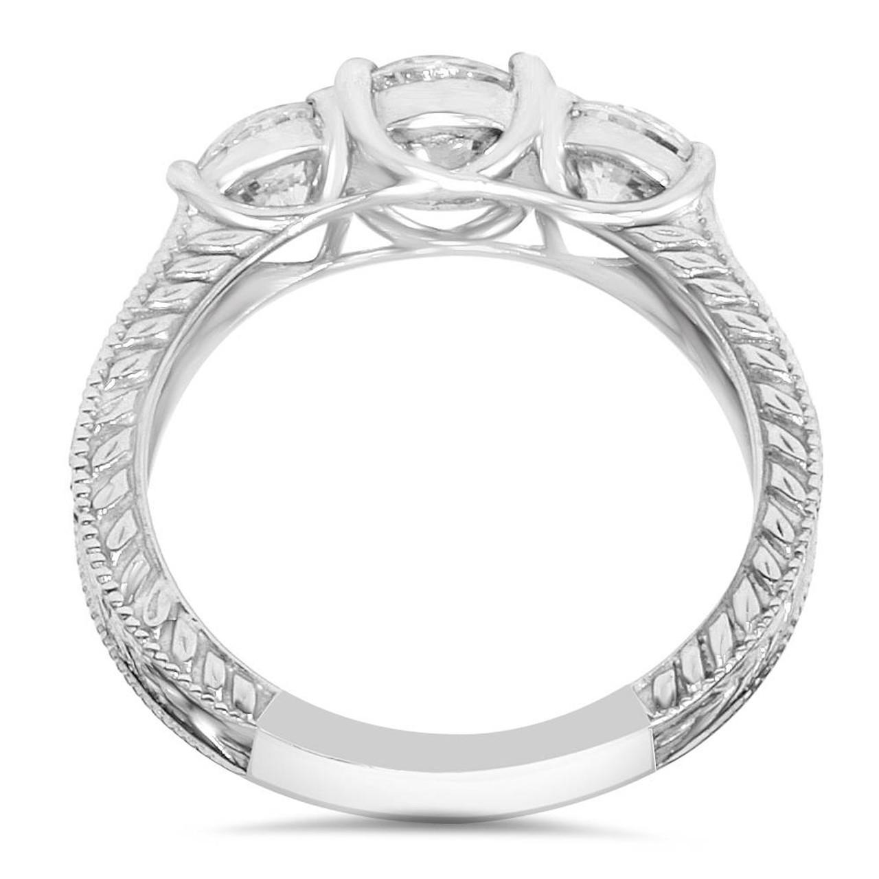 84481ce8ad808 1 3/4ct Vintage Three Stone Round Diamond Engagement Ring 14K White Gold  (H, SI2)