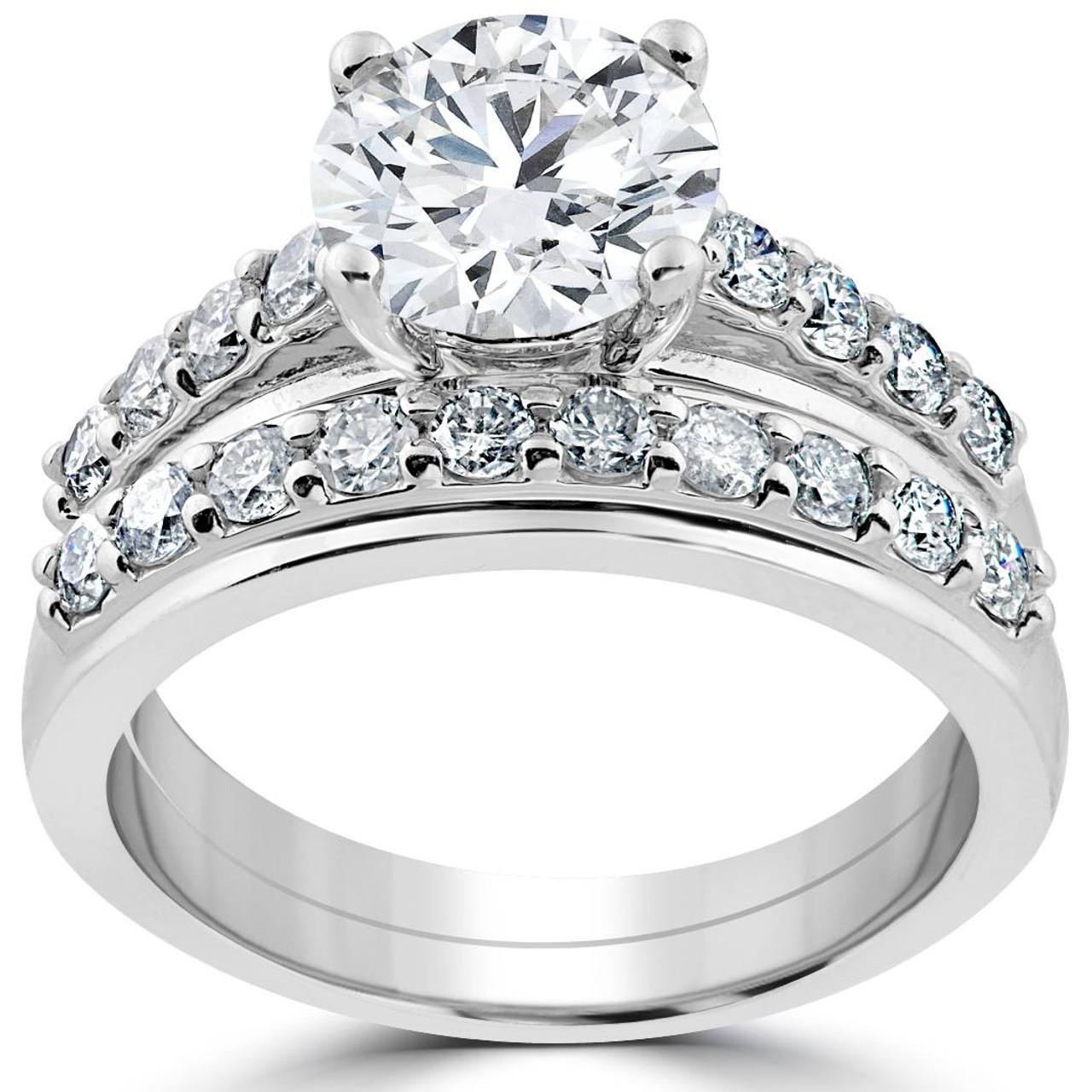 3ct Diamond Engagement Wedding Ring Set 14k White Gold
