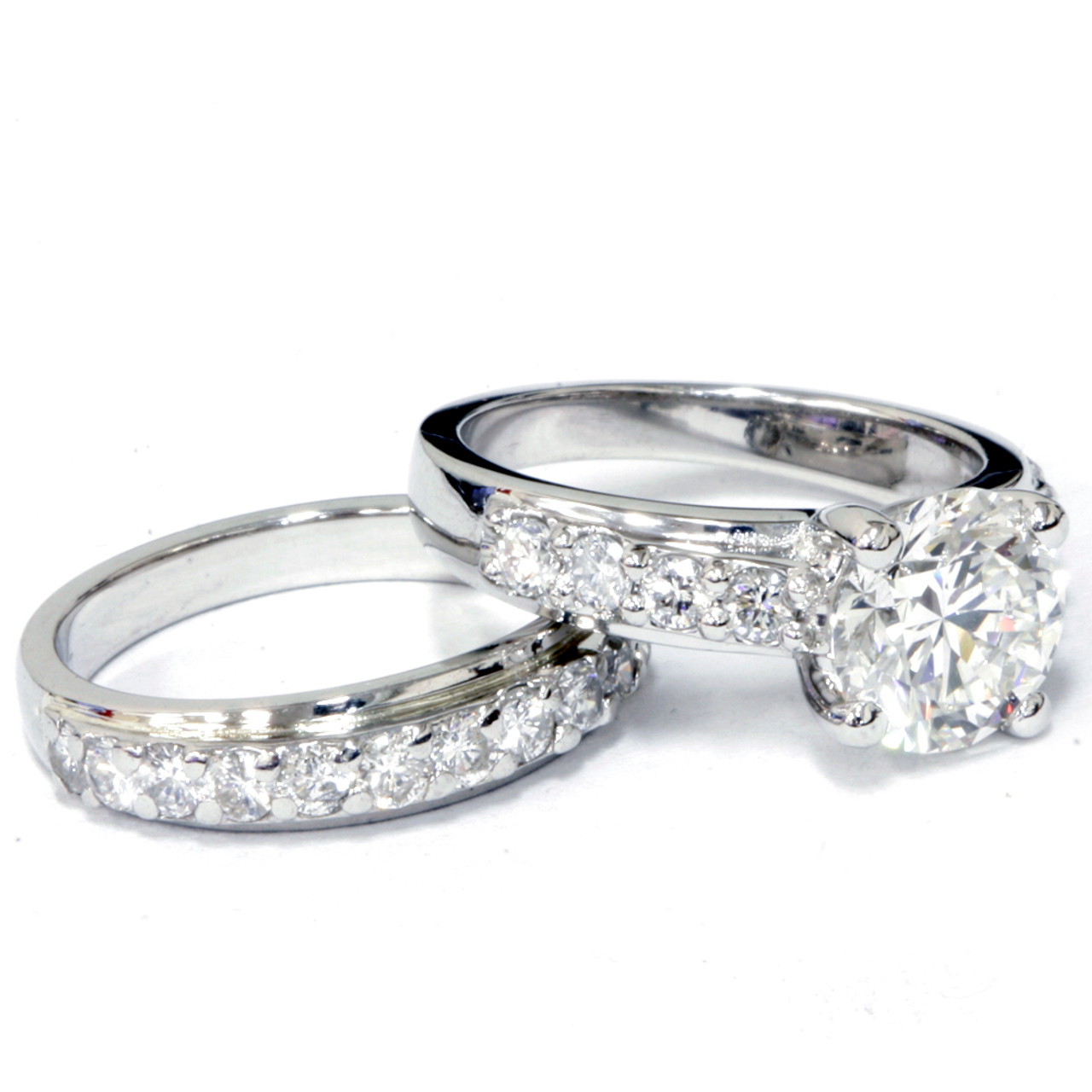 14k white gold over 3ct round diamond solitaire engagement ring wedding band