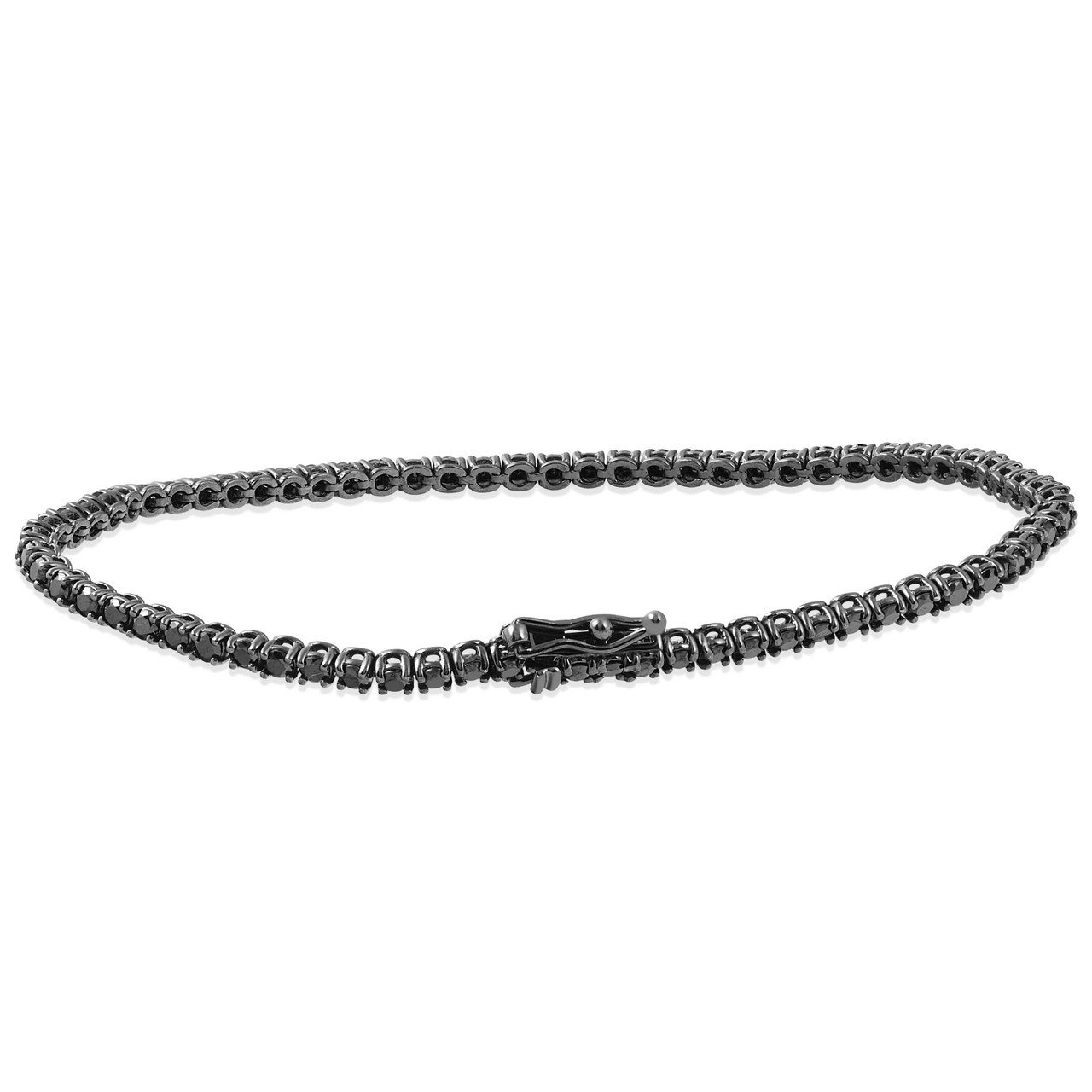 45a49b44d634d 3ct Black Diamond Tennis Bracelet 14K Black Gold 7
