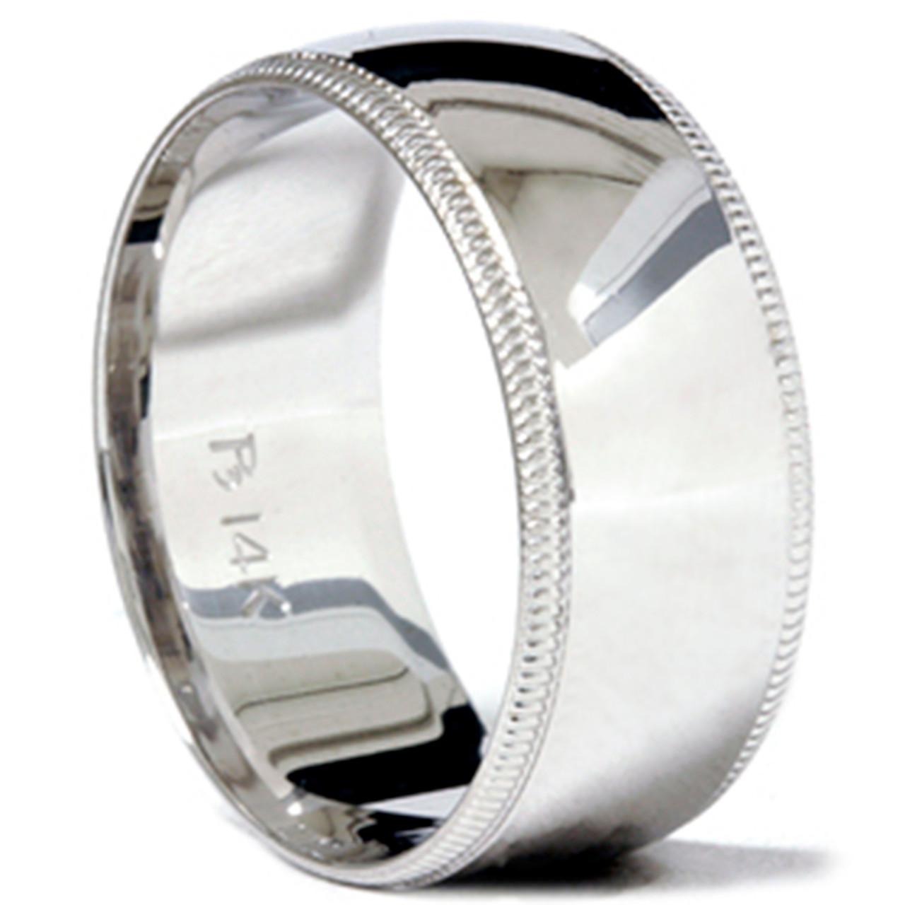 9mm Milgrain Mens Wedding Band 14k White Gold