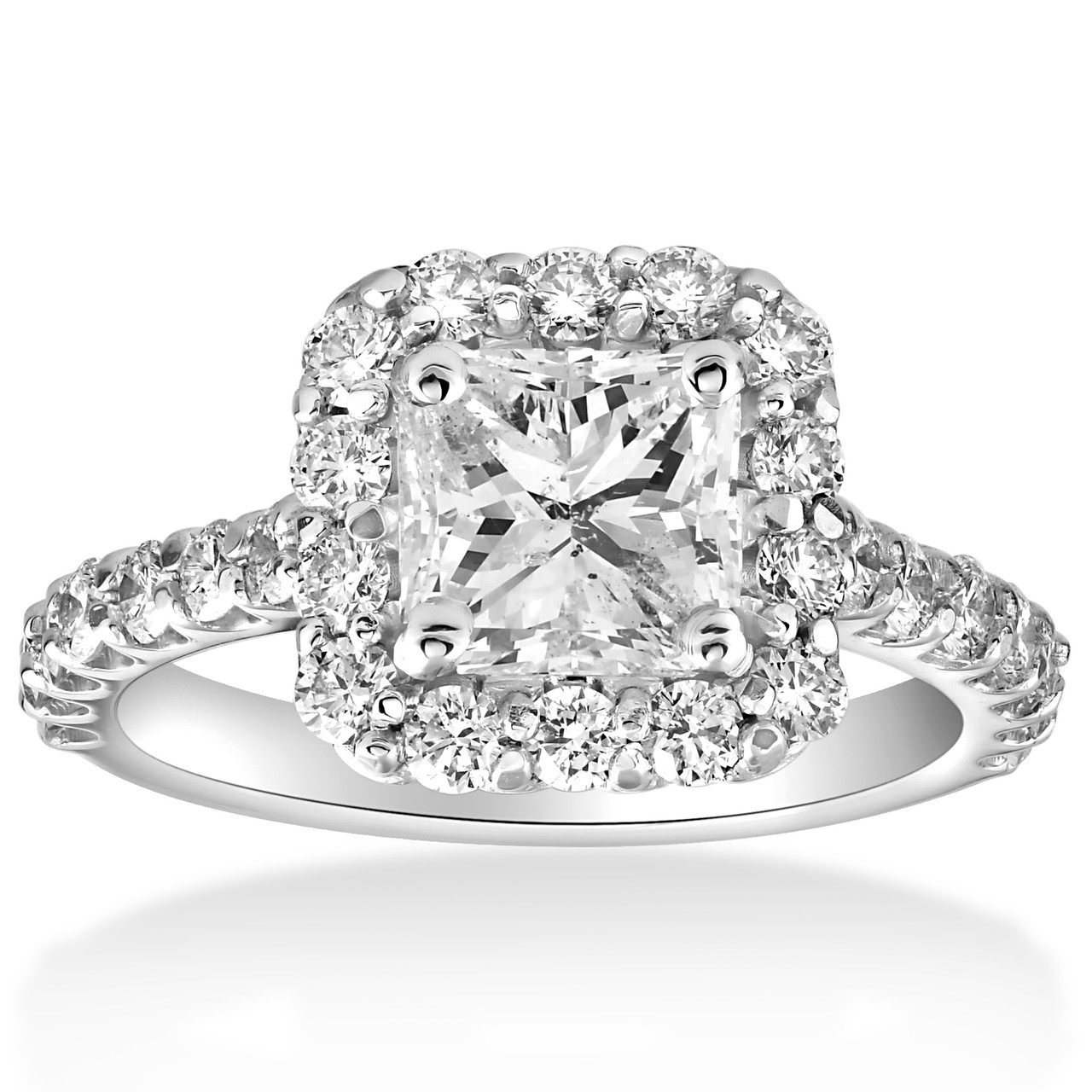 2 Cttw Halo Princess Square Cut Diamond Engagement Ring 14k White Gold