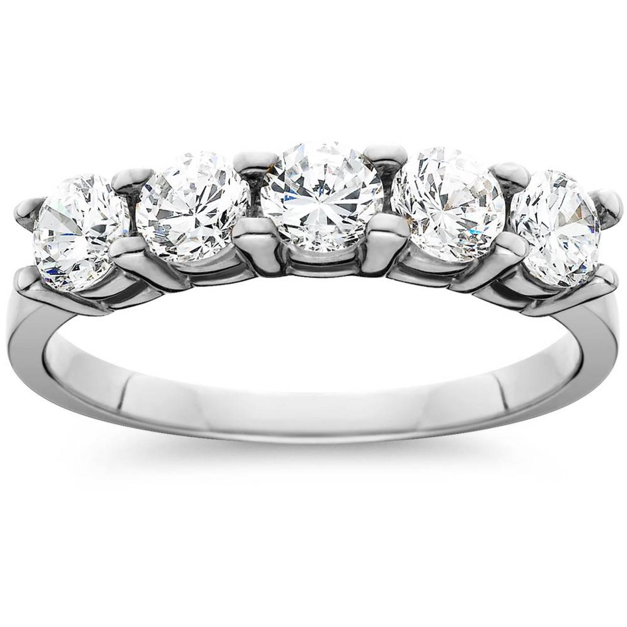 Bezel Set Ring Black Diamond Wedding Ring Genuine Diamond Ring Anniversary Ring Five Stone Ring Half Eternity Ring Stackable Ring