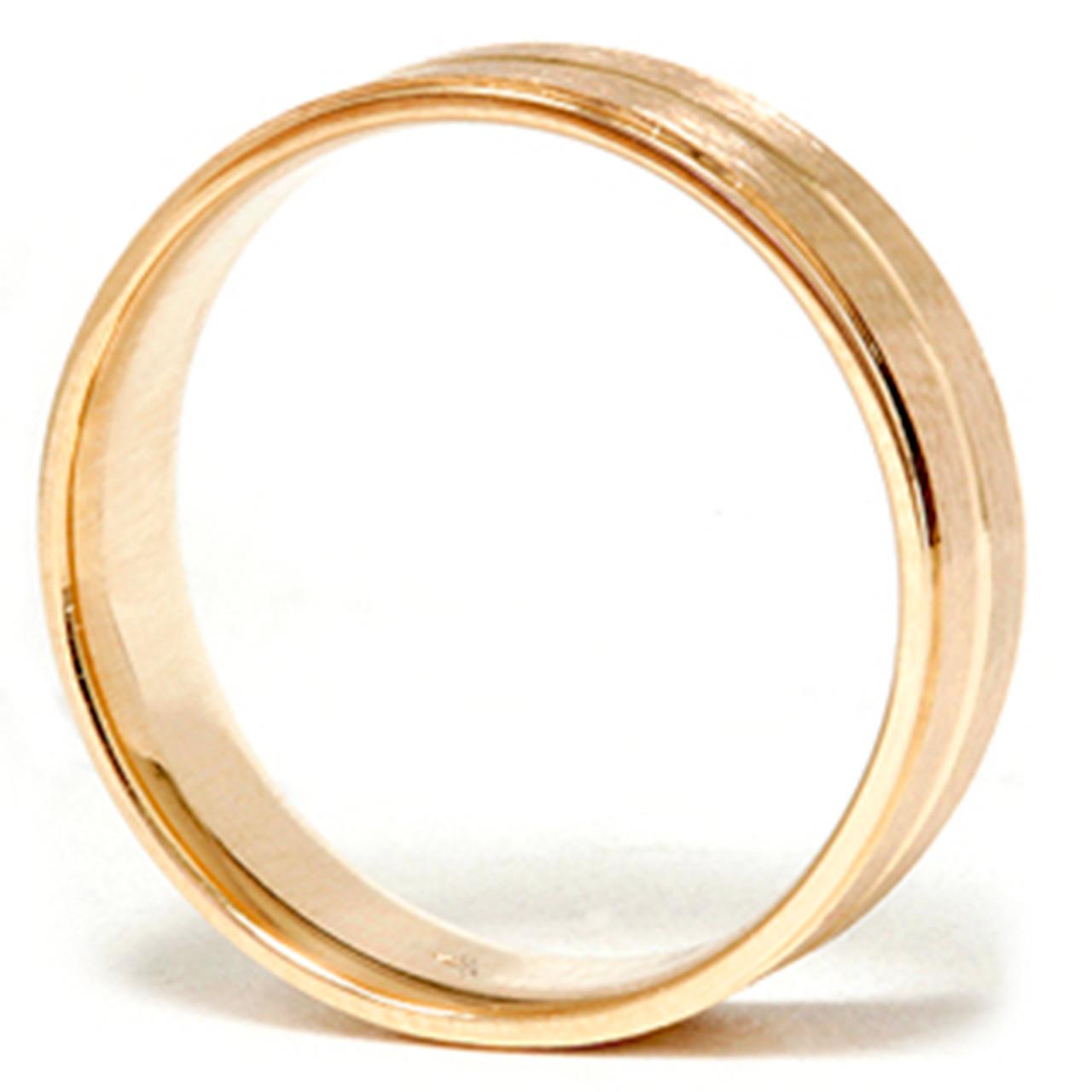 1ef334572d50e Mens 14k Gold Flat 6mm Brushed Comfort Fit Wedding Band