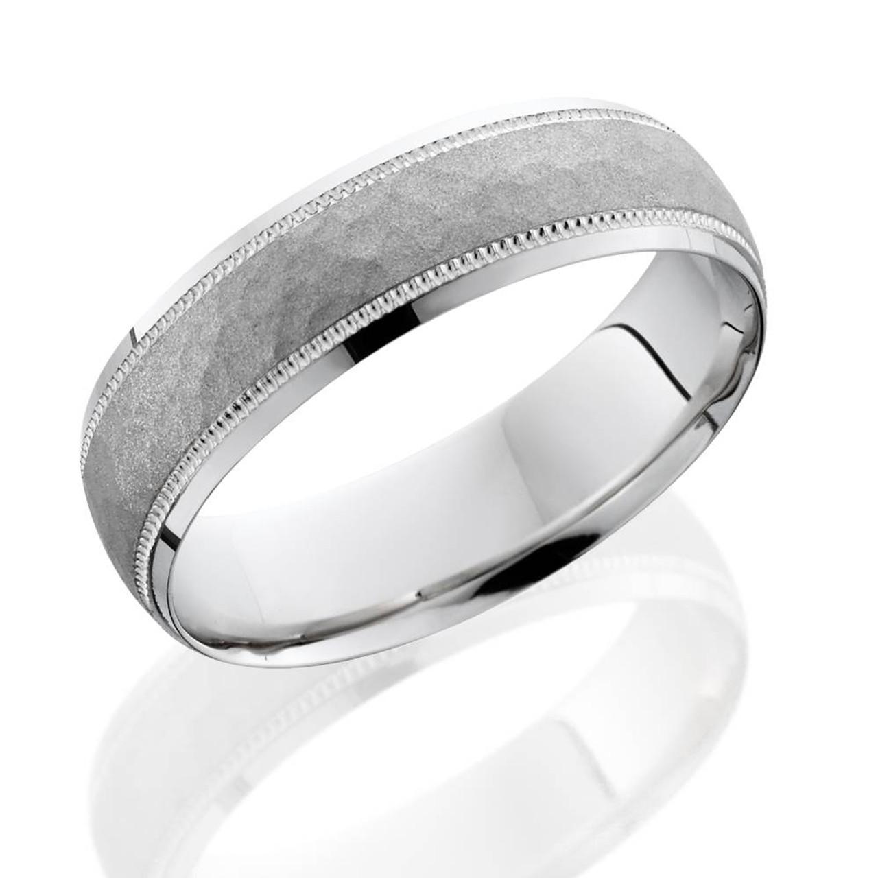 Platinum Wedding Bands For Men.Mens Hammered 950 Platinum 6mm Comfort Fit Wedding Band